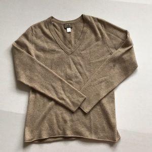 FWM cashmere v-neck tan color sweater Sz L